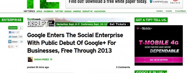 Google Enters the Social Enterprise with Public Debut of Google+ For Businesses