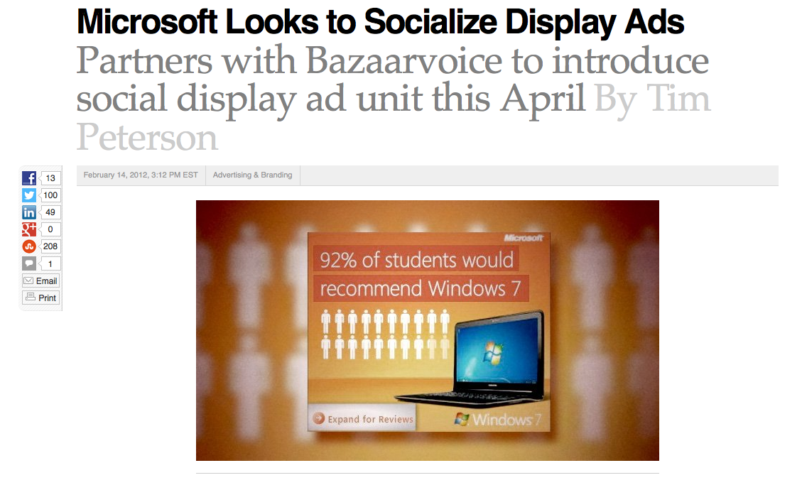 Microsoft partners with Bazaarvoice to create review-generated advertising content.